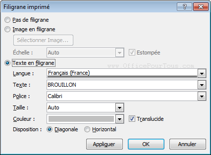 Texte ou image en arri re plan estomp filigrane dans word - Open office en francais pour windows 7 ...