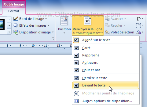 Image devant le texte - Document Word