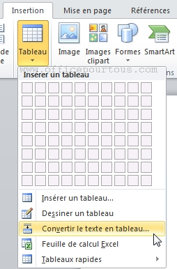 how to create tableau in word