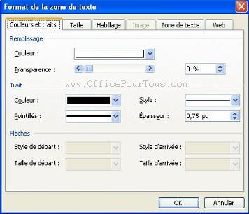 Les zones de texte dans office 2003 for Fenetre zone de qualification