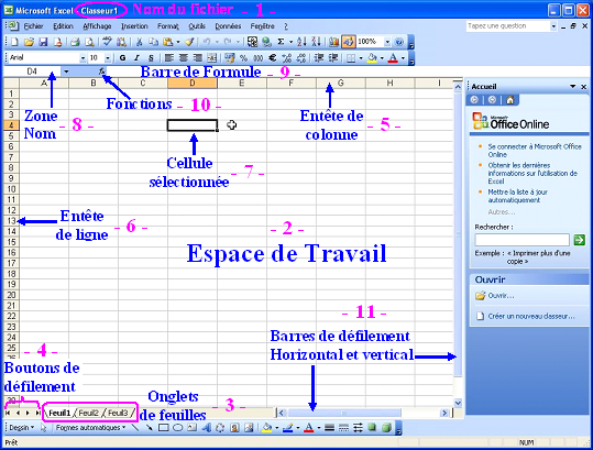 Interface Excel 2003