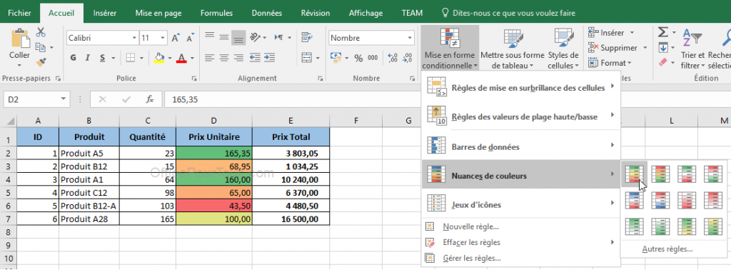 Mise en forme conditionnelle Excel par nuances de couleurs