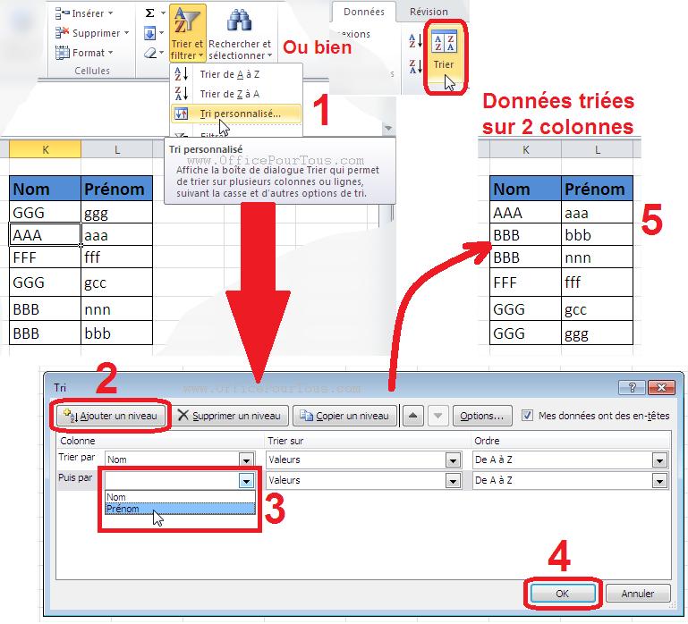 Trier des données sur plusieurs colonnes - Excel 2007, 2010 et 2013